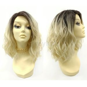 Blonde lace front wavy heat resistant wig